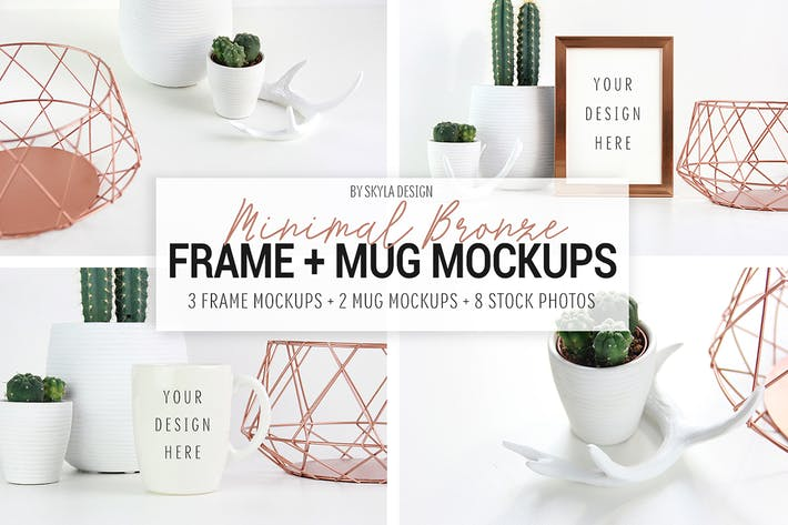 Thumbnail for Picture frame and mug mockups, Minimal bronze