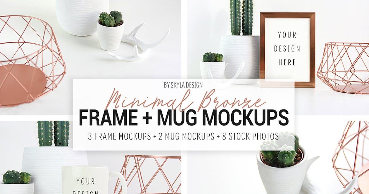 Download Picture frame and mug mockups, Minimal bronze by skyladesign