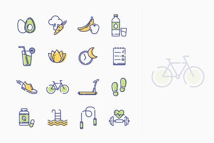Íconos Estilo de vida saludable - Serie Esquema
