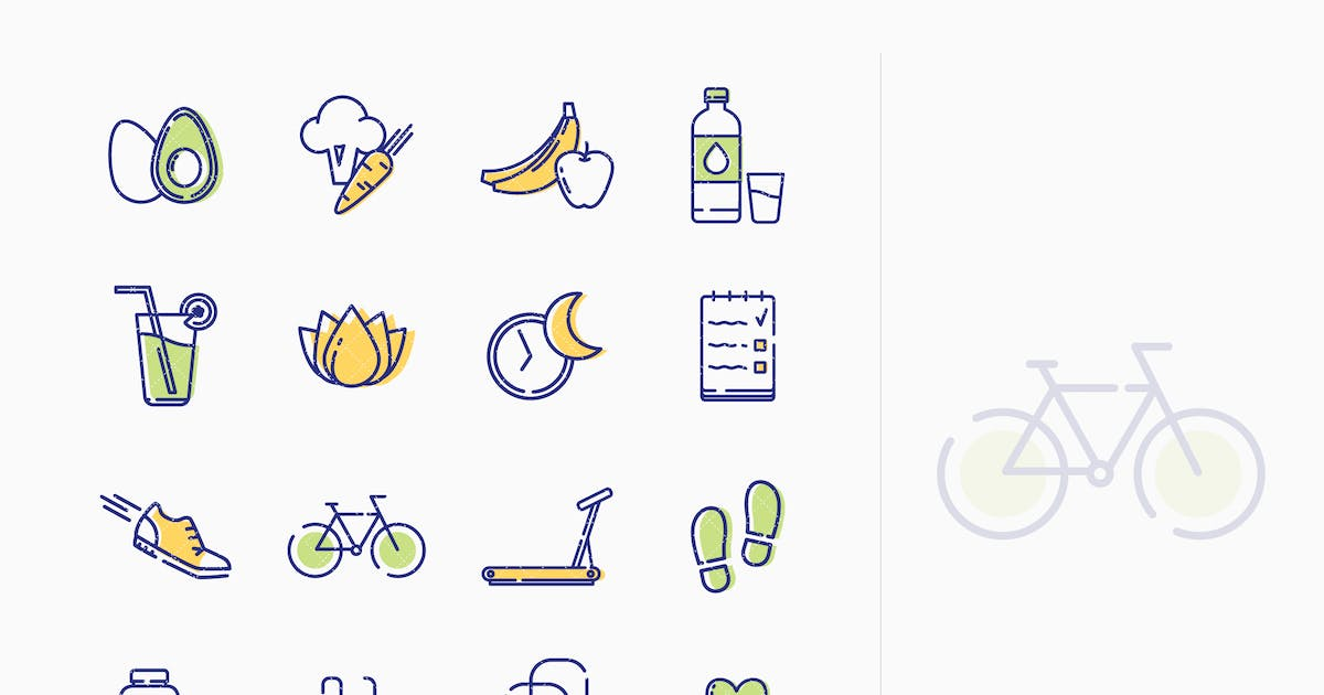 Download Healthy Lifestyle Icons - Outline Series by Unknow