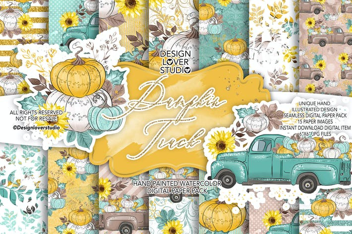 Thumbnail for Thanksgiving car digital paper pack