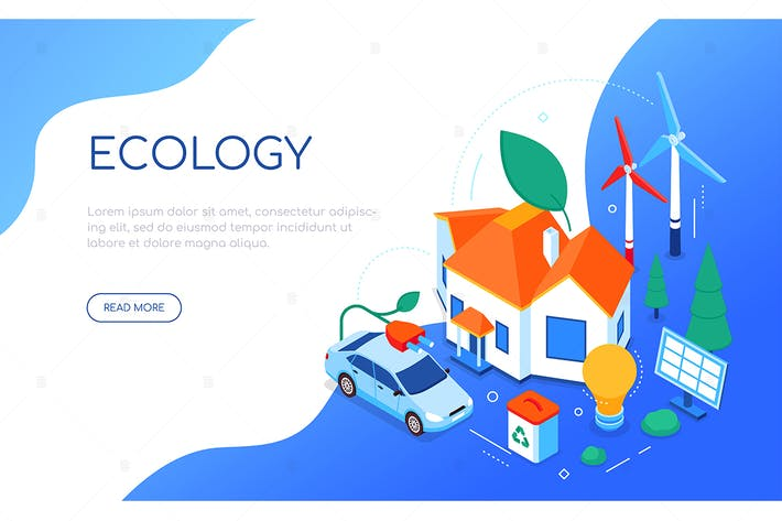 Thumbnail for Ecology concept - colorful isometric web banner