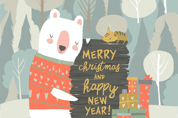 Thumbnail for Cute cartoon bear celebrating Christmas. Vector