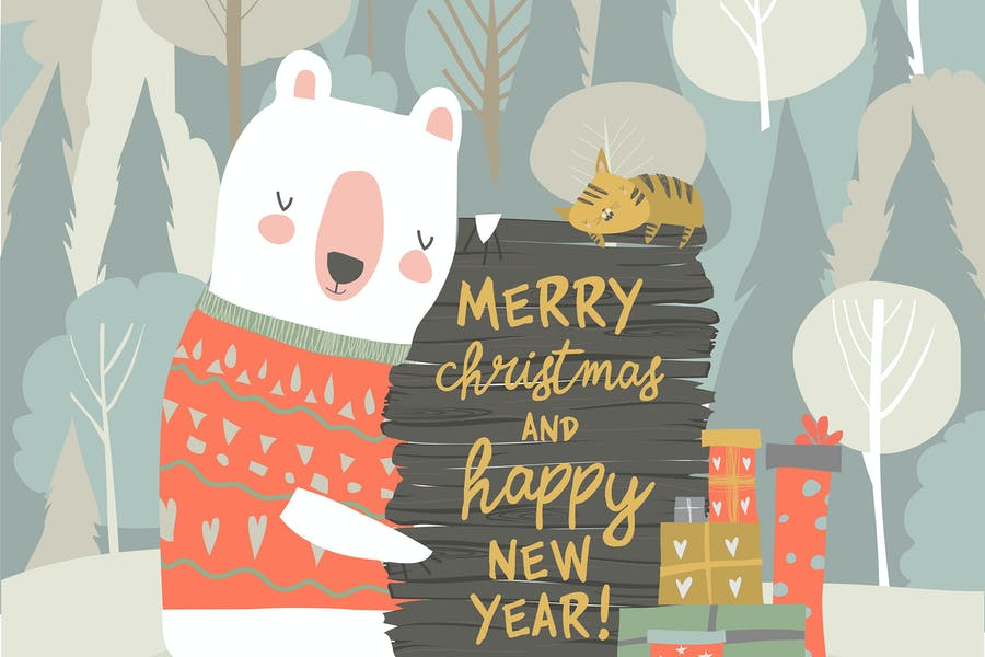Cute cartoon bear celebrating Christmas. Vector