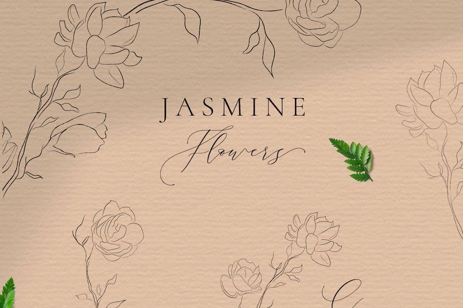 Jasmine Flowers Line Art Ornate Elements