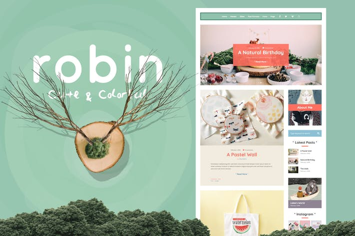 Thumbnail for Robin - Cute & Colorful Blog Theme