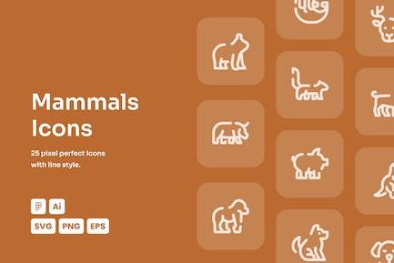Icones Mammals Dashed Line