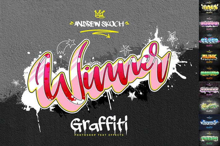 Thumbnail for Graffiti Text Effects - 10 PSD - vol 3