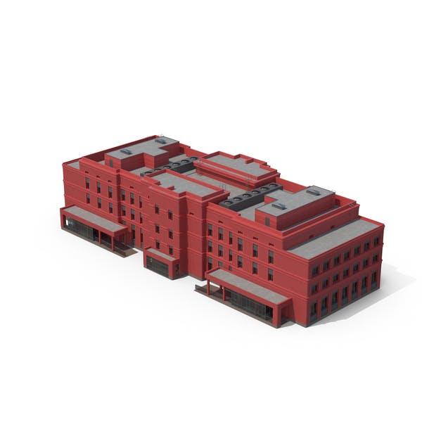 Krankenhausgebäude rot