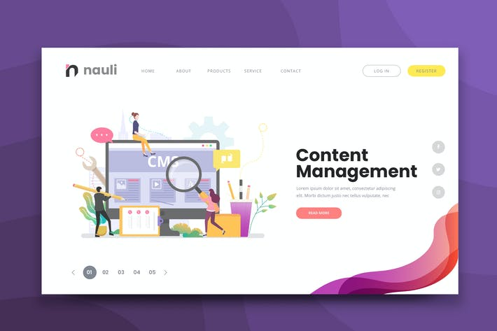 Thumbnail for Content Management Web PSD and AI Vector Template