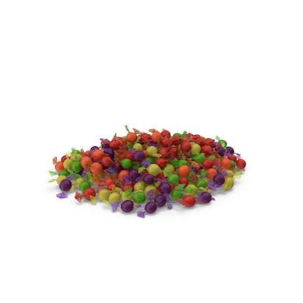 Haufen gewickelter sphärischer Süßigkeiten
