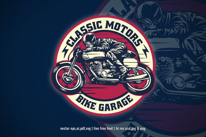 Thumbnail for vintage logo design of motorcycle garage
