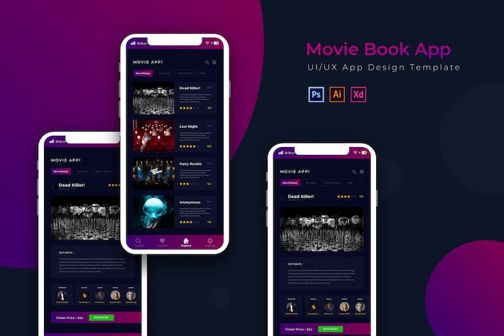 Thumbnail for Movie Book | App Design Template