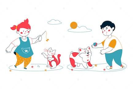 Kids with Animals - Line Illustration