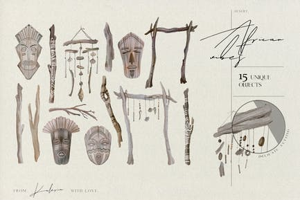 African mystic objects - watercolor ethno set
