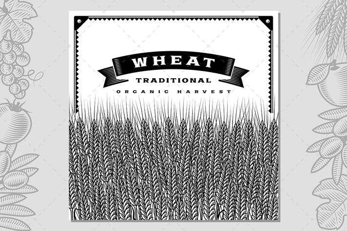 Thumbnail for Retro Wheat Harvest Card Black And White