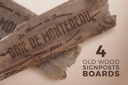 4 Old Wood Burned Signposts Boards
