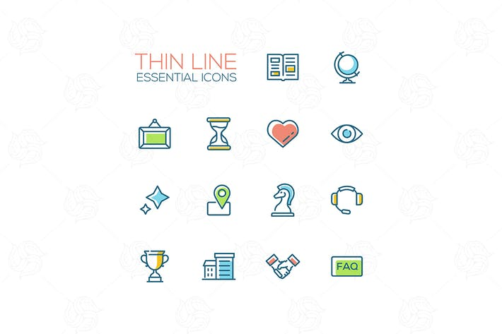 Thumbnail for Business - Thin Single Line Icons Set