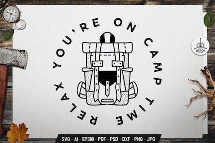 Camping Line Art Badge Design. Backpack Label