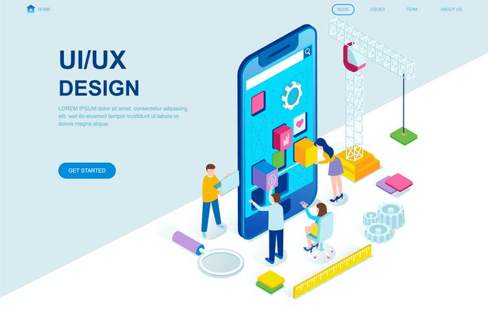 Thumbnail for UX / UI Design Isometric Landing Page Template