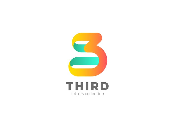 Cover Image For Number 3 Three design 3D Ribbon style