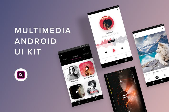 Thumbnail for Multimedia Android UI Kit (Adobe XD)