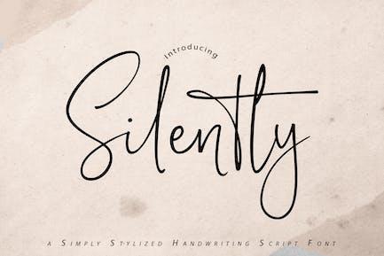 Silencieusement | Police de script d'écriture manuscrite