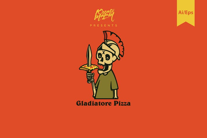 Thumbnail for Gladiatore Pizza Logo Template