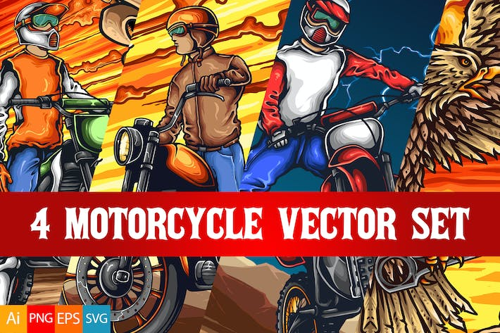 Thumbnail for 4 Motorcycle Vector Set