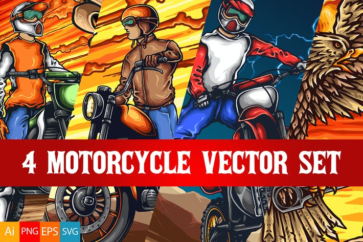 Thumbnail for 4 Motorrad Vektor Set