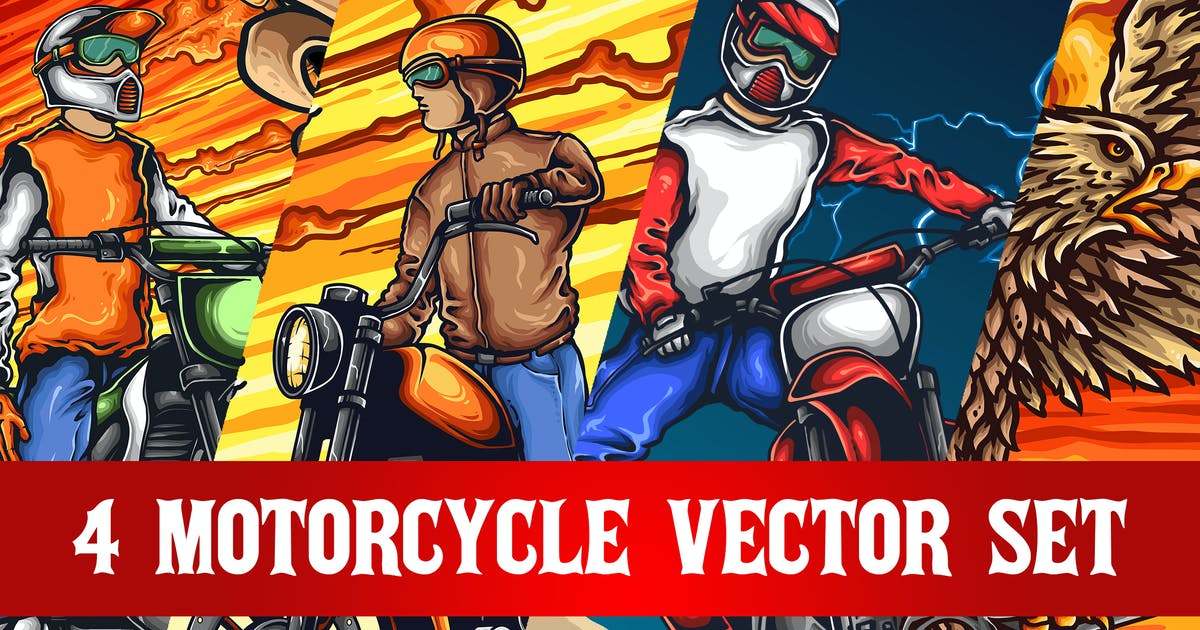 Download 4 Motorcycle Vector Set by TSVcreative