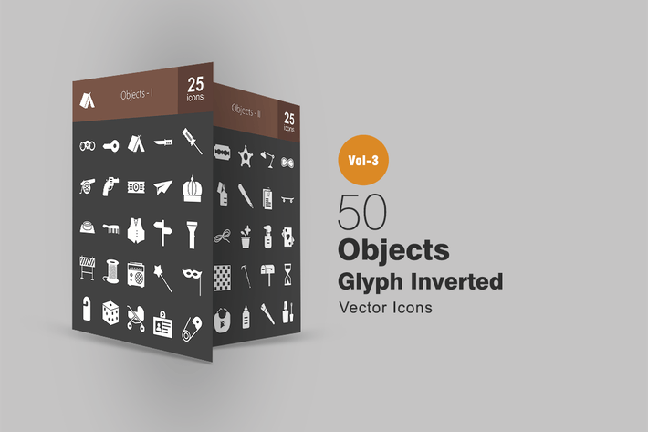 Thumbnail for 50 Objects Glyph Inverted Icons