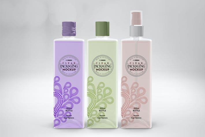 Thumbnail for Clear 200ml Square PET Bottles Packaging Mockup