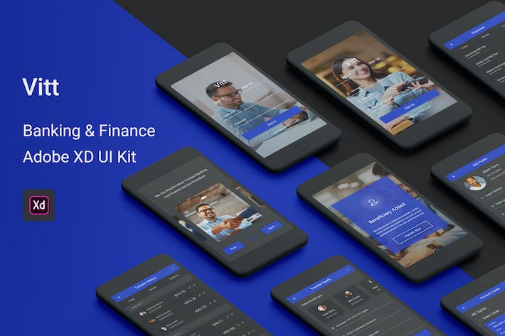 Cover Image For Vitt - Banking & Finance Adobe XD UI Kit