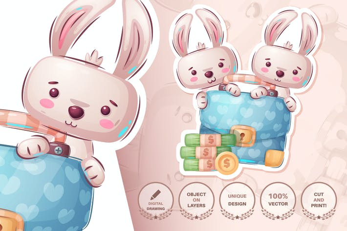 Thumbnail for Rabbit with diplomat - seamless pattern
