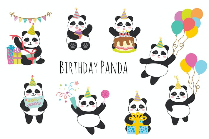 Thumbnail for Birthday Panda Hand Drawn