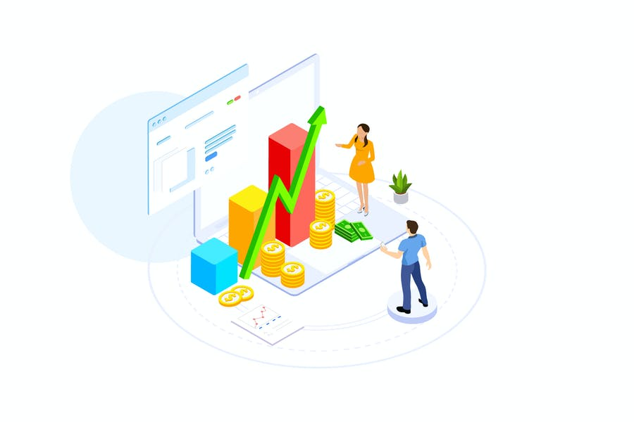 Financial Planning Isometric Illustration - FV
