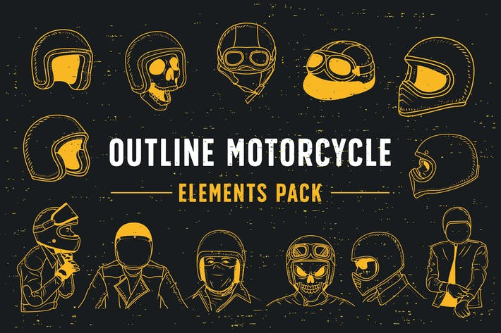 Thumbnail for Outline Motorcycle Elements Pack