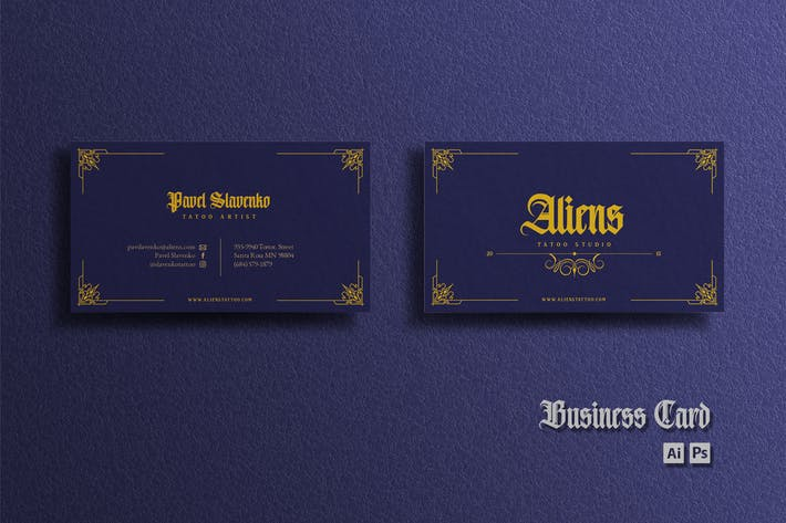 Thumbnail for Business Card - Vintage Blue Gold