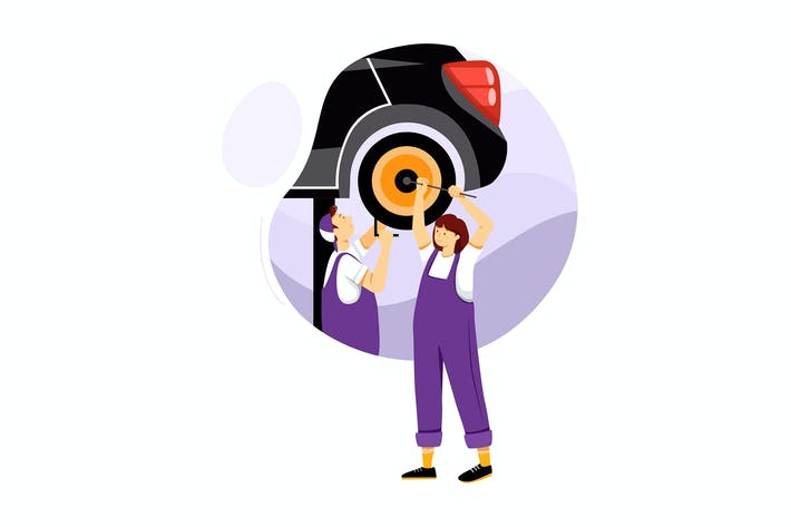 Thumbnail for Two mechanic repairing automobile in auto service