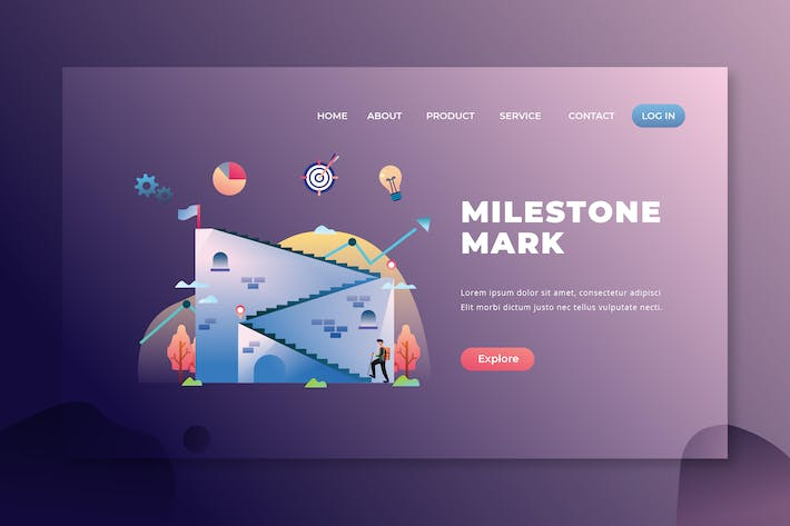Thumbnail for Milestone Mark - PSD and AI Vector Landing Page