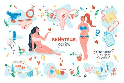 Menstrual Period Set Isolated Elements