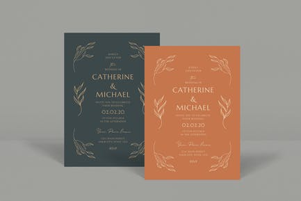 Vintage Leaf Wedding Invitation