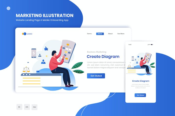 Thumbnail for Create Diagram Flat Landing & Onboarding App