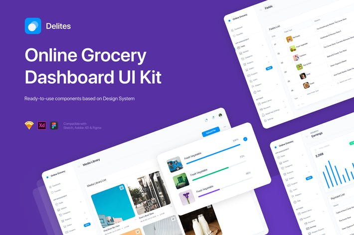 Thumbnail for Delites - Grocery Dashboard UI Kit