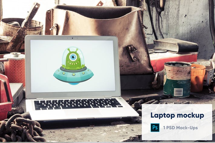 Thumbnail for Laptop in Old Factory PSD Mockup
