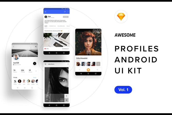 Thumbnail for Android UI Kit - Profiles Vol. 1 (Sketch)