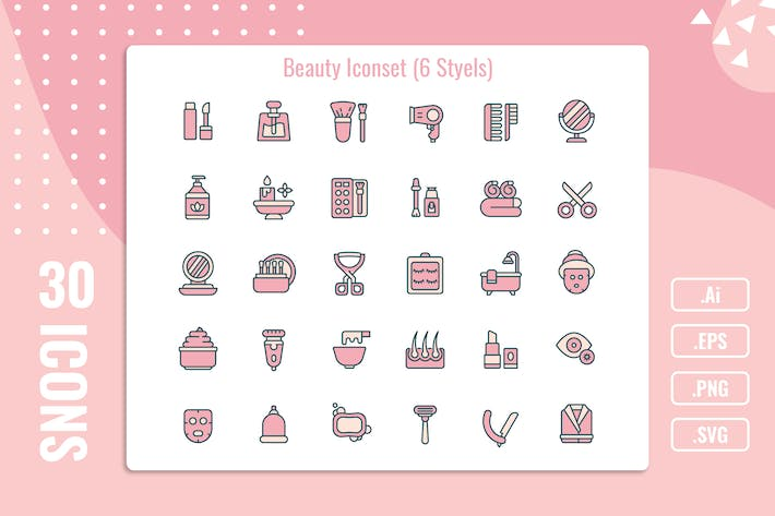 30 Iconset Beauty with 6 styles variant