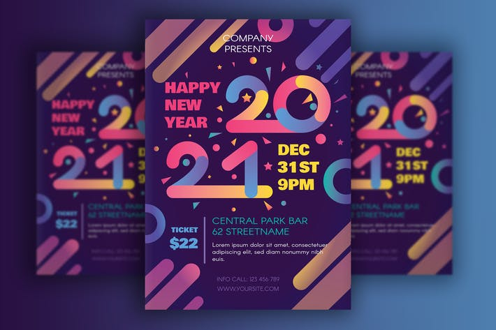 Thumbnail for Modern Happy 2021 New Year Poster