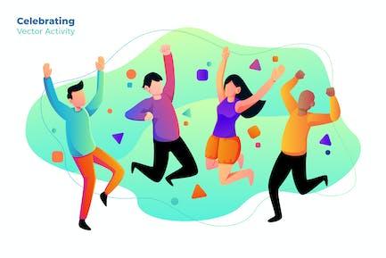 Celebrating - Ilustración Vector